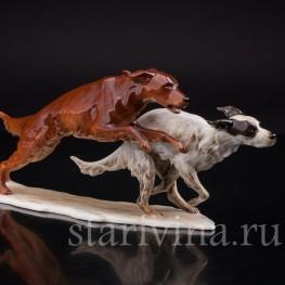 Фигурка собак из фарфора Два бегущих сеттера, Alka Kaiser, Германия, 1960 гг.